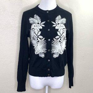 J. Crew black embroidered cardigan sweater sz med